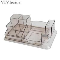 Office Supplies Large Capacity Multi function Transparent Desk Organizer Pen Holder Stationery Desk Accessories Storage Box