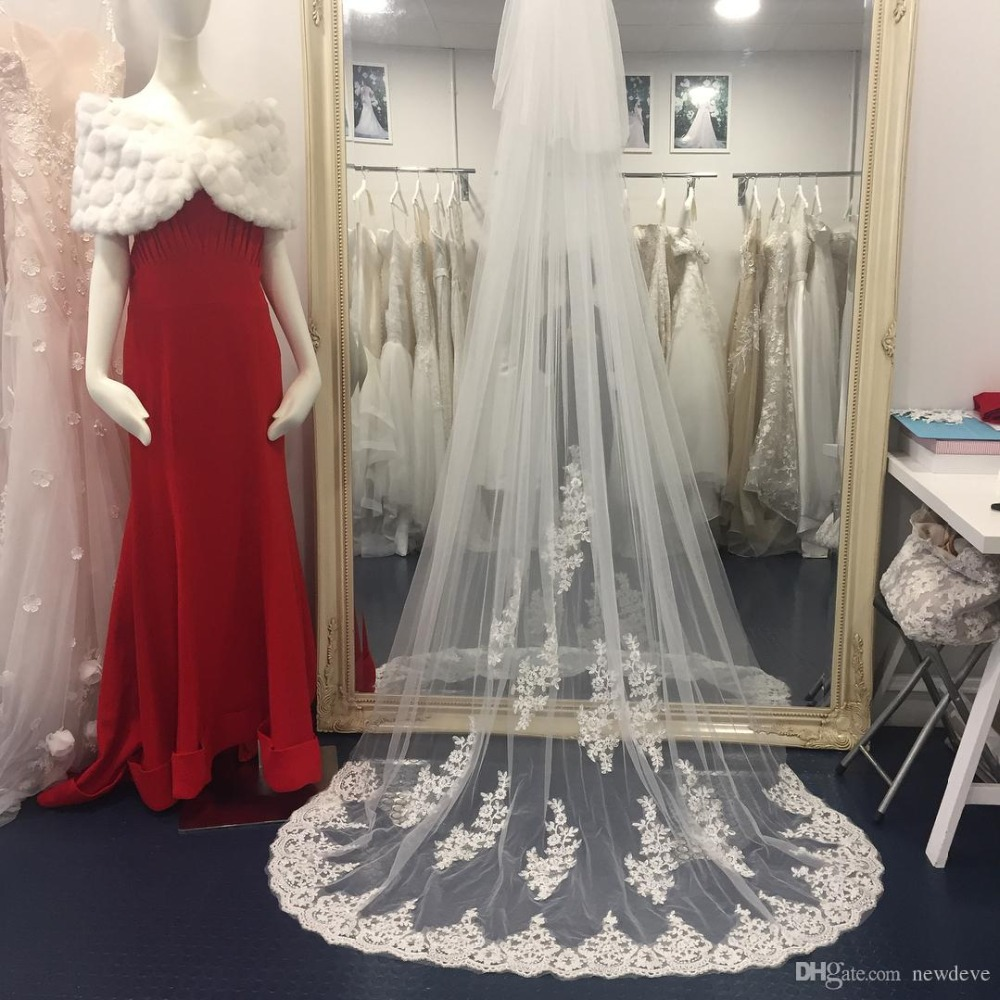 2019 Designed Wedding Veils Cathedral Length Bridal Veils With Blusher Face Two-Layer Customized Length Bridal Veil With Combs