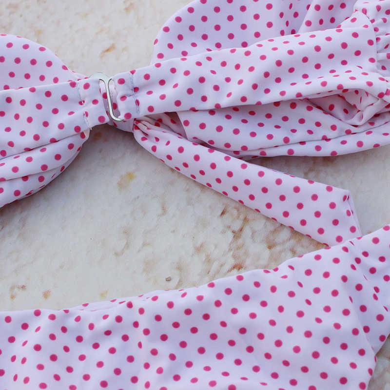 חמוד מנוקדת ביקיני נשים סקסי Bandeau ברזילאי ביקיני סט 2019 קשת בגדי ים לדחוף את בגד ים חוף בגד ים