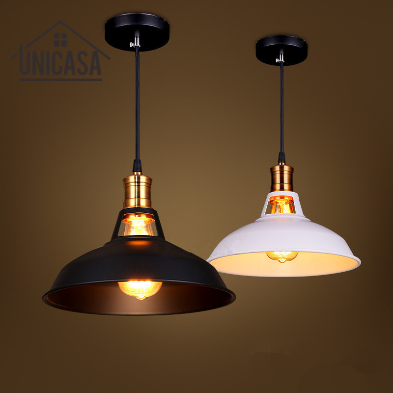 Buy Black White Shade Iron Pendant Lights Mini Vintage Lighting Fixtures