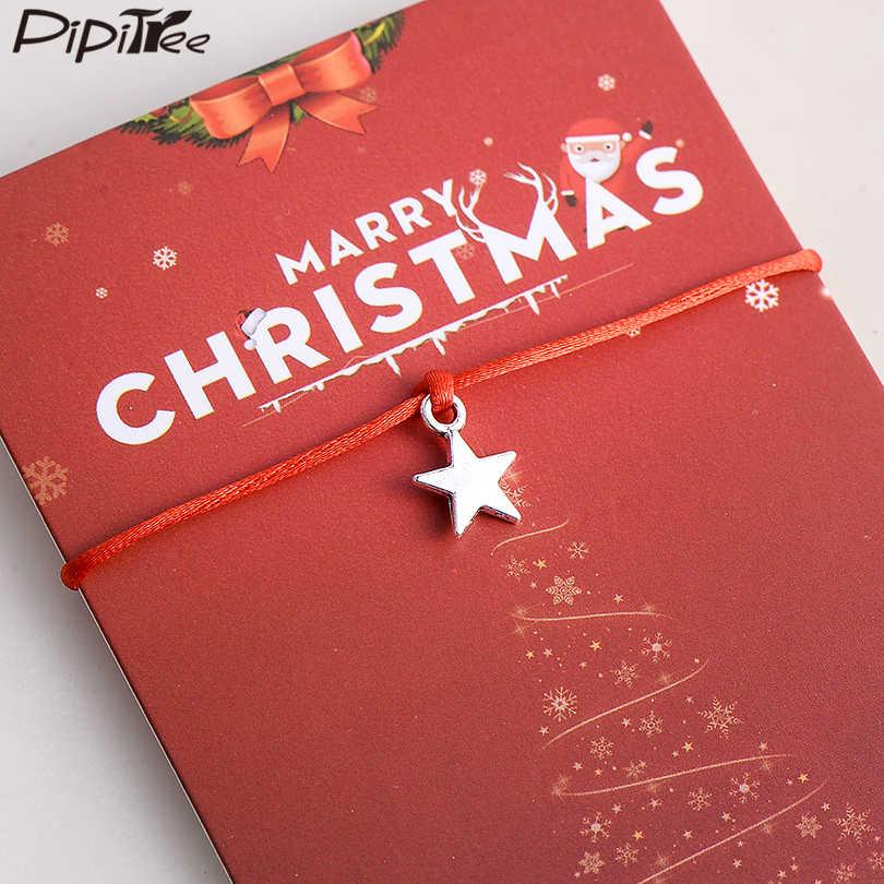 Pipitree Merry Christmas Lucky Star Pesona Gelang untuk Wanita Pria Anak Pecinta Hadiah Kartu Sederhana Tali Merah Berharap Gelang Perhiasan