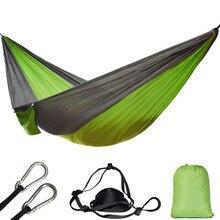 Одиночный двойной гамак, портативная кровать для взрослых, для активного отдыха, путешествий, пешего туризма, охоты, с 2 ремнями и 2 карабинами