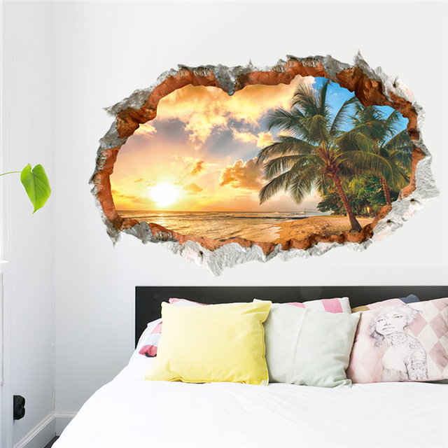 buy broken wall sunset coconut trees scenery seascape 3d wall sticker decals. Black Bedroom Furniture Sets. Home Design Ideas