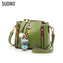 SUOAI 2017 Women Shoulder Bags Fashion Pu Bucket Female Cute Mini Crossbody Bags Girls Casual Party Bag