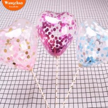 10pcs/lot Transparent Confetti Balloon Cake Toppers Heart Shape Happy Birthday Topper Wedding & Engagement Decoration