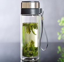 1PC Double Layer Glass Water Bottle Tea Fruit flower bottle Bottles With stainless Steel Infuser Tumbler KD 1460