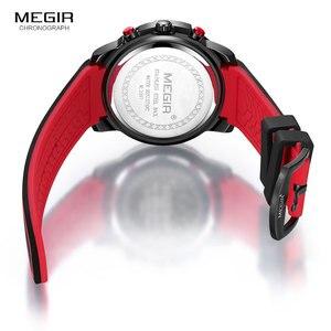 Image 5 - Megir relojes de cuarzo de lujo para hombre, cronógrafo deportivo, militar, de silicona, negro y rojo, 2097