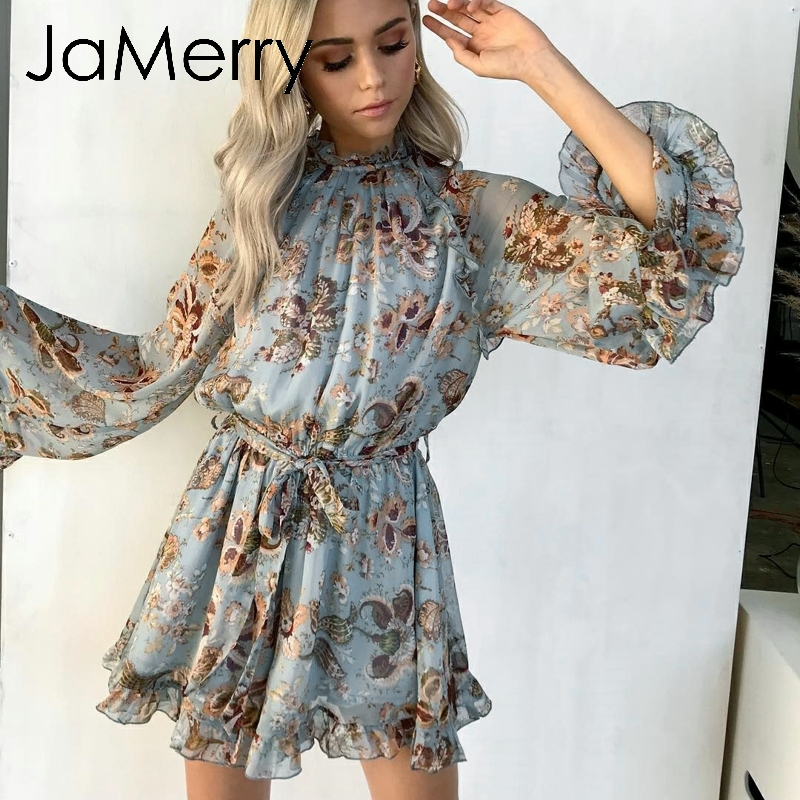 JaMerry Bohemian floral print women playsuit romper Boho backless ruffle bow tie short   jumpsuit   Holiday summer beach overalls