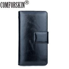 COMFORSKIN Brand 100% Genuine Oil Waxing Leather Credit Card Holders Card Case Large Capacity Card Wallets Multi-Card Bit Purse comforskin luxurious 100% genuine leather multi card bit woman zipper purses famous brand long large capacity women s wallets