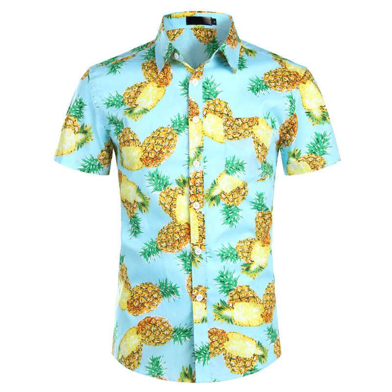 Розовый с принтом ананаса гавайская рубашка 2019 Фирменная новинка футболка с коротким рукавом Для мужчин пляжные Повседневное гавайская рубашка мальчиков Camisa социальной Masculina