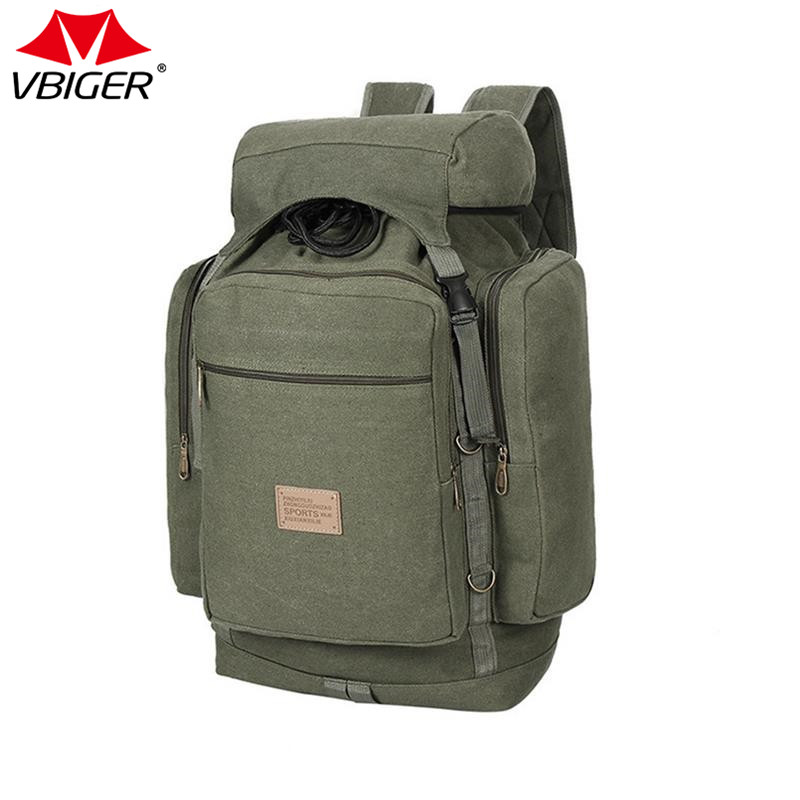 Vbiger Functional Outdoor Backpack Solid Canvas Backpack Durable Travel Daypack for Hiking Camping Large Capacity yin qi shi man winter outdoor shoes hiking camping trip high top hiking boots cow leather durable female plush warm outdoor boot