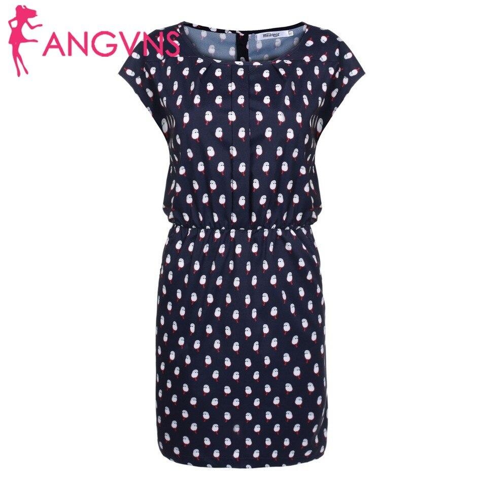 ANGVNS Women Round Neck Elastic Waist Animal Print Pocket Dress Robe de femme Vestido de mujer Vestido das spring 2018 obe