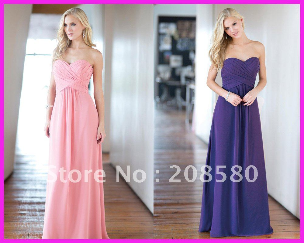 floor length sweetheart bridesmaid dark purple