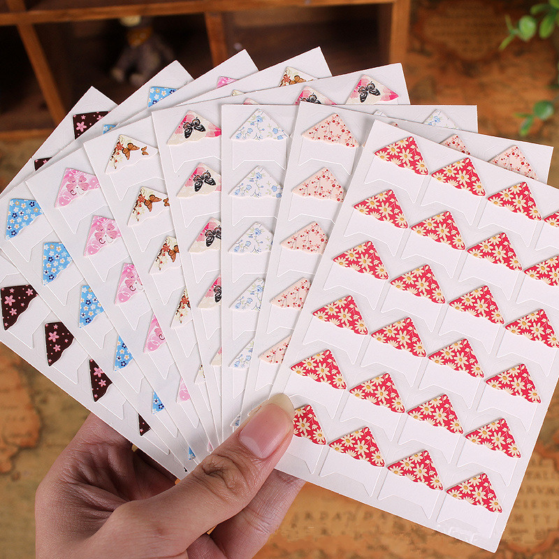 24 pcs/sheet DIY manual paste-type album corner stickers floral baby couple albums photos decoration 8 designs free shipping 531