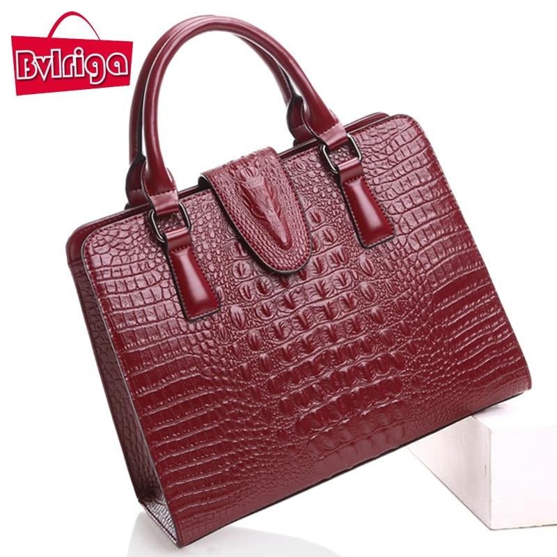 ФОТО BVLRIGA Genuine leather bag Crocodile designer handbags famous brand women messenger bags shoulder bag high quality women bag