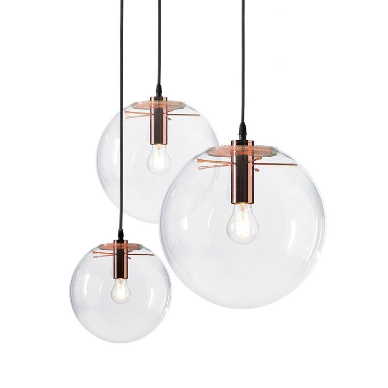 GZMJ Modern Nordic Rose Gold Black Glass Ball Pendant Light Lamp Clear for Dining Room Bar Restaurant Suspension E27 LED Lamp