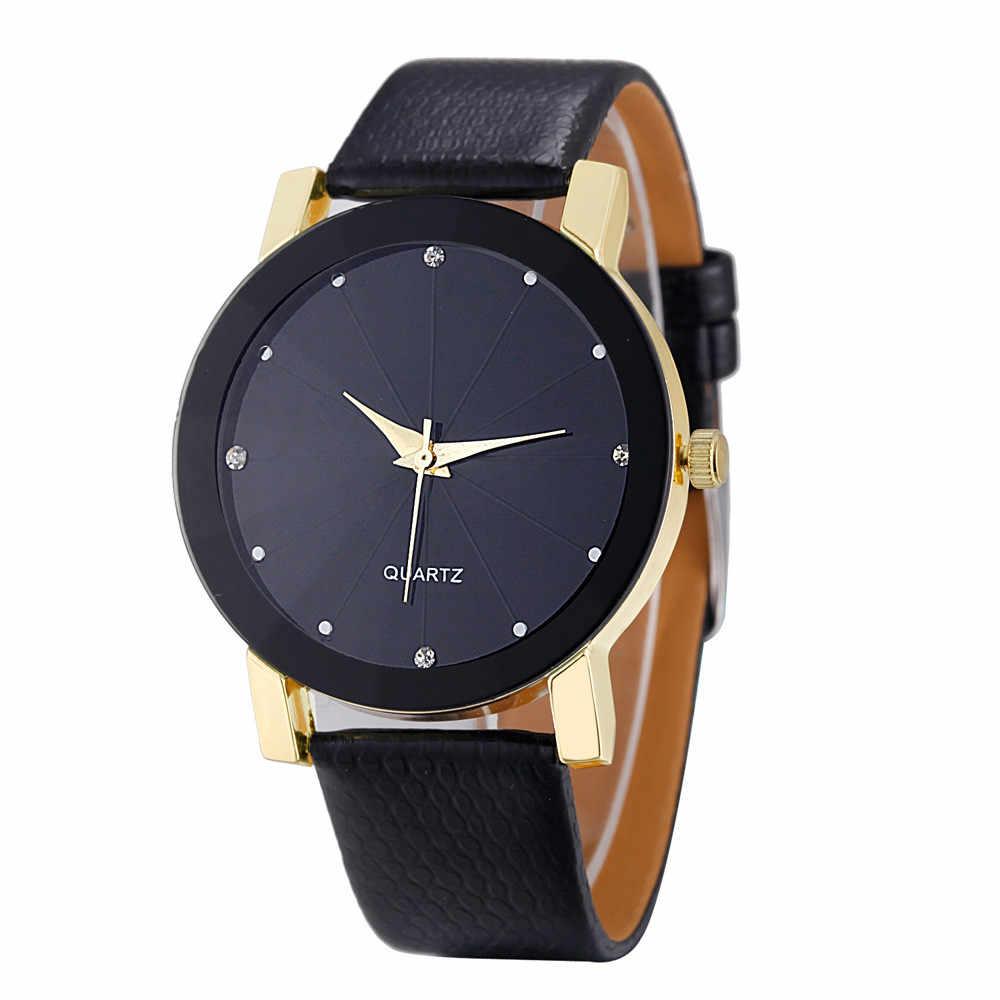 חדש פנטסטי שעון נשים מזדמנים רצועת עור ריינסטון נשים שעון צמיד שעון קוורץ שעוני יד Montre Femme Reloj Mujer