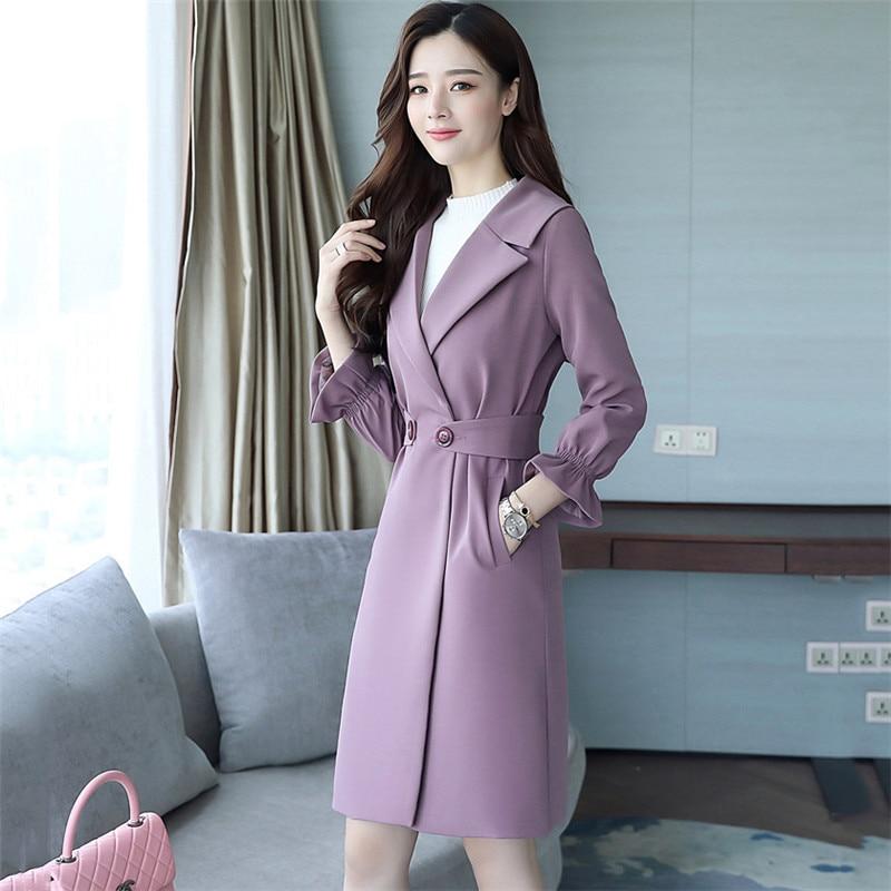 2018 purple Sottile Donne Fashion Vento Capispalla Coat Medio Lungo Primavera Temperamento Di Fashion504 Femminile Cappotto Trincea Giacca A New Trench Autunno Khaki Www16rqz0S