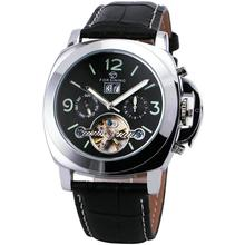 WINNER PN Design Luxury Automatic Tourbillon Mechanical Watch Leather Strap Fluorescence Dial Date & Month Display + BOX