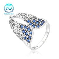 925 Sterling Silver Feather Ring With Blue Stone The Best Gift For Her Party Ring