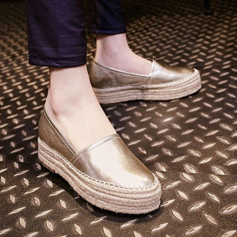 Nya Kvinnors Casual Slip-On Äkta Läder Loafers Dam Fritid Halm - Damskor - Foto 5