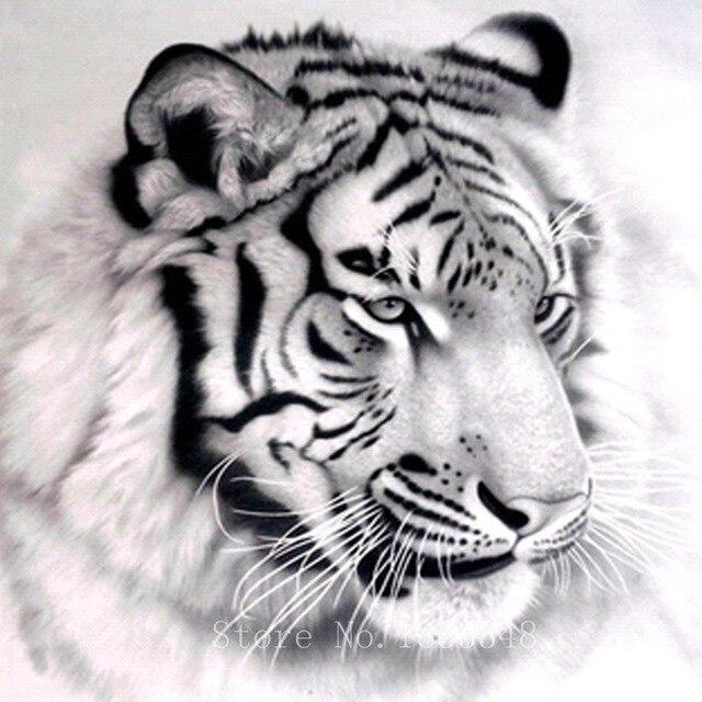 Berlian Lukisan Harimau Hitam Bordir Dengan Berlian Sketsa Hewan