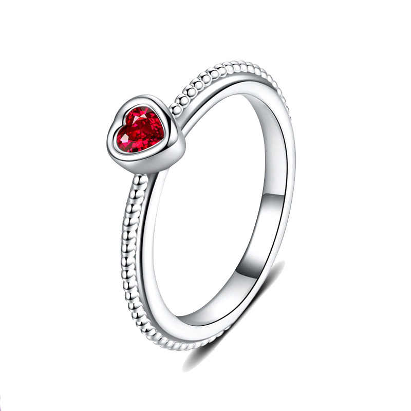UMODE 2019 New Rose Red Zircon CZ Crystal Red Heart Rings for Women Fashion Heart White Gold Beads Jewelry Anillos Mujer AUR0507