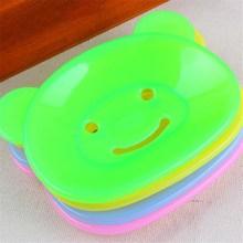 FEIGO 2Pcs Bathroom Soap Dish Lovely Cartoon Bear Case Box Water Drainer Plastic Storage Holder F59