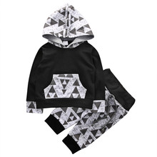 Autumn Newborn Baby Boy Clothes Set Triangle Long Sleeve Cotton Sweatershirt Hoodie Black T-Shirt+Long Pants Outfit Baby Set