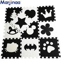 Marjinaa EVA New 10pcs 11 8 11 8 Puzzle Floor GYM Soft Kids Foam Mat Black