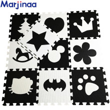 Marjinaa EVA New 10pcs 11.8″*11.8″ Puzzle Floor GYM Soft Kids Foam Mat Black White baby play puzzle number letter cartoon foam