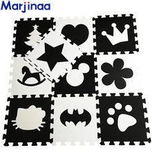 "Marjinaa EVA New 10pcs 11.8""*11.8"" Puzzle Floor GYM Soft Kids Foam Mat Black White baby play puzzle number letter cartoon foam(China)"