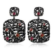Fashion Secret New Arrive Women's Luxury Black drop earrings Lead Free Big Drop Dangling Wedding Earring Black Gold Plated