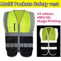 New Construction High visibility two tone fluorescent yellow black safety reflective vest  company  logo printing free shipping