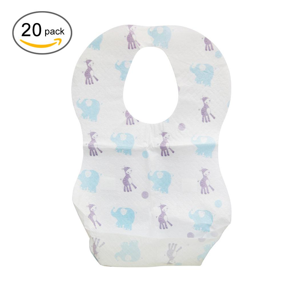 20pcs/lot Waterproof Non-Woven Fabric Disposable Baby Toddler Bibs Feeding Saliva Apron Paper Bibs pet shop boys brasília