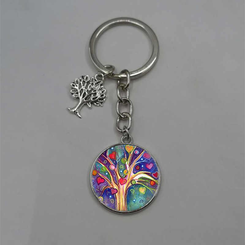 O mais recente declaração de árvore da vida arte chaveiro foto de vidro cabochão pingente charme DIY keychain chaveiro presente da jóia