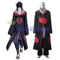 Japanese Anime Naruto Shippuuden Team Taka Hawk Uchiha Sasuke Deluxe Cosplay Costume Combo Set(Cloak+Tops+Pants+Apron+Belt)