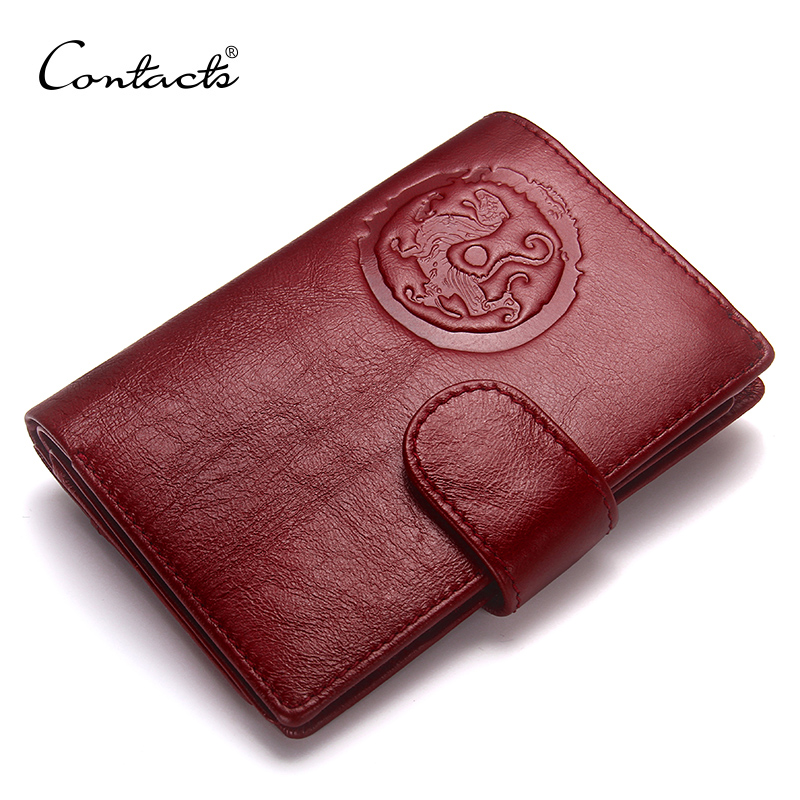 CONTACT'S Genuine Leather Women Passport Holder Female Purse Travel Wallet Men Portomonee Short Walet Card Holder Passport Cover