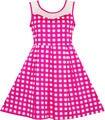 Sunny fashion girls vestido de tela escocesa a cuadros de hombro transparente hot pink party vestido de tirantes de algodón 2017 de la princesa del verano tamaño 7-14