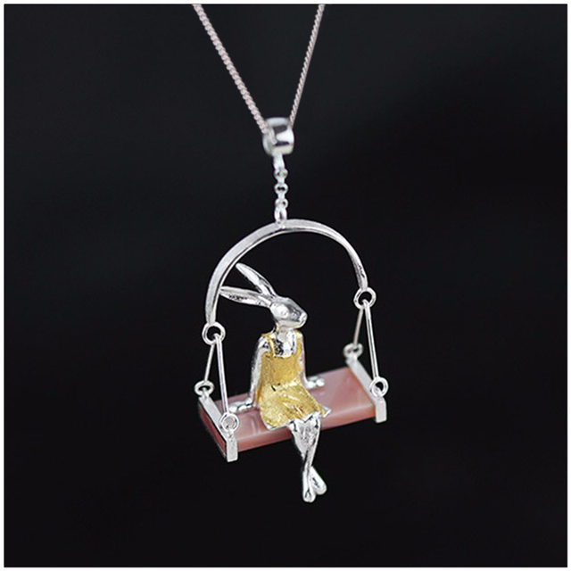 Lotus Fun Real 925 Sterling Silver Natural Mother of Pearl Handmade Fine Jewelry Miss Rabbit Pendant without Chain Acessorios