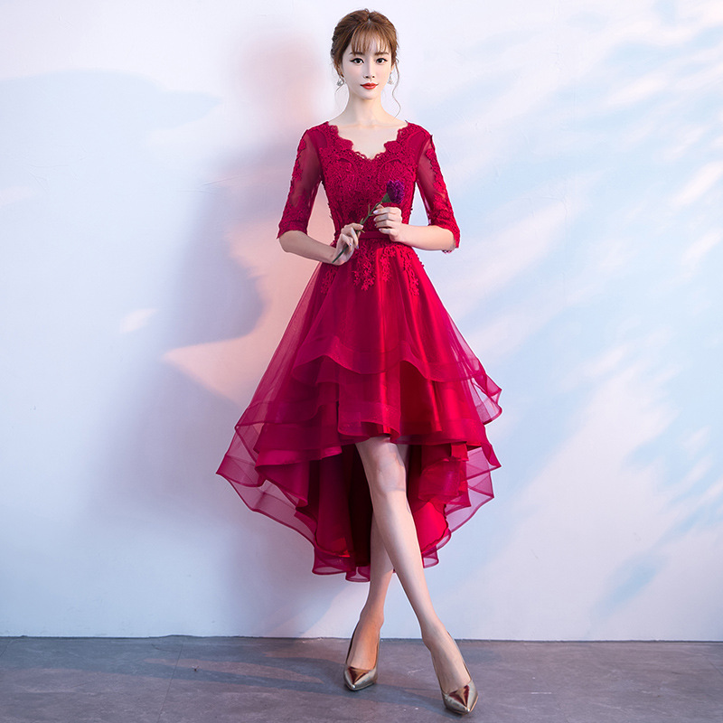 2019 Sexy   Cocktail     Dresses   Appliques V Neck Half Sleeves High Low Puffy Party Gowns Girl's robe de soiree
