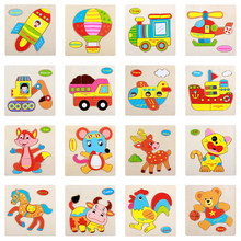 Wooden 3D Puzzle Jigsaw For Children Baby Cartoon Animal Traffic Fruit Puzzles Educational Toy Kid Brain Teaser Toys Wood Puzzle(China)