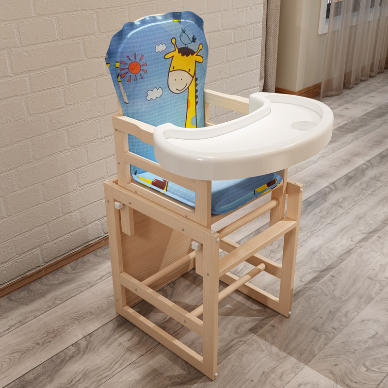Wooden Baby Dining Chair Feeding Chair For Babies Cartoon Dining Table Baby Seat Highchair Multifunction Dining Table Chair