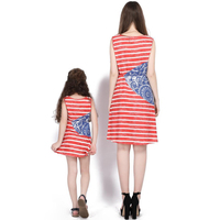 Strip Family Matching Gowns Matching Family Outfits Women Leisure Dress 2019 Mom Baby Casual Dress Mother Daughter Long Dress