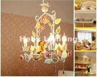 Modern Art Deco Floral Chandelier Lamp Lustre Light 4L Pink Rose Flower Chandelier Light Fixture E14