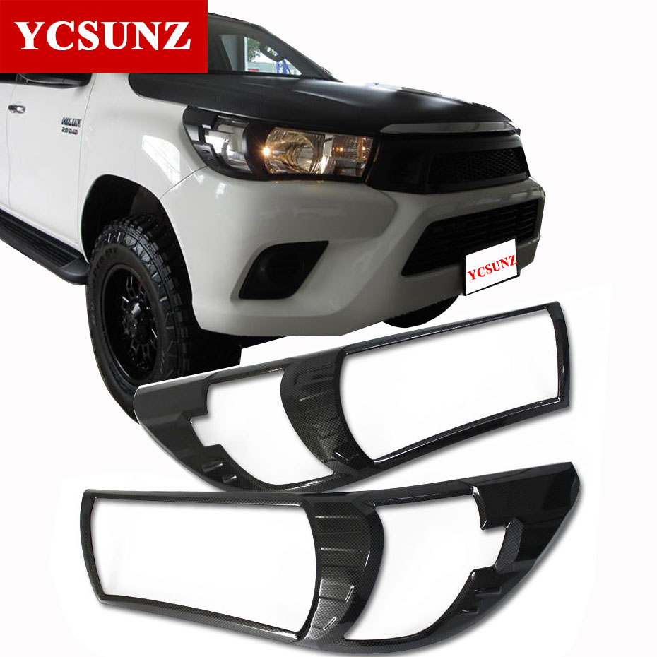 2016-2017 Carbon Fiber Headlights Cover For Toyota Hilux Revo 2016 Accessories Exterior Parts For Toyota Hilux SR5 2017+ Ycsunz 2015 2017 car wind deflector awnings shelters for hilux vigo revo black window deflector guard rain shield fit for hilux revo