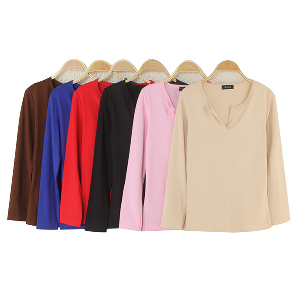 HTB1jnFKFMmTBuNjy1Xbq6yMrVXab - Women Korean t shirt Basic V Neck Long Sleeve Fitted Plain Top Solid Stretch Shirt