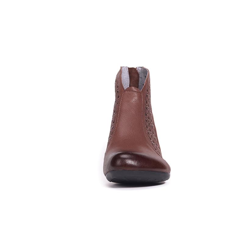 2019 Vintage Femmes Creux Cuir Hauts Brown Sandales Bottes Romaines Printemps Marque Xiangban Véritable Talons Red D'été DW29EHI