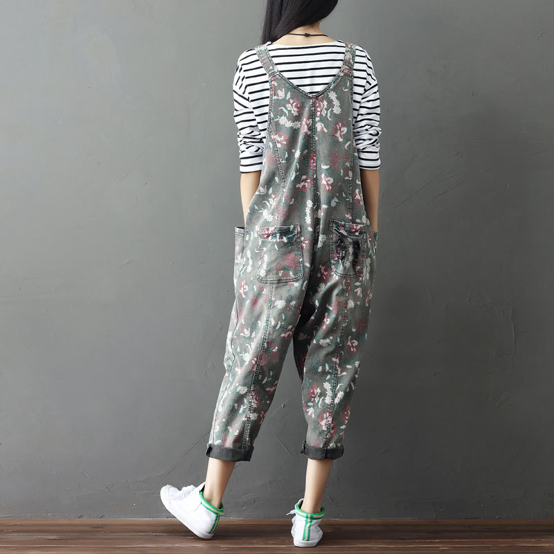 For Washed Rompers Wide Jeans Loose Women Leg 022504 Baggy Jumpsuits 11 Overalls 12 Floral Hip hop Printed Boyfriend fw6xqBxI