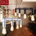 Старинная Подвесная лампа  кованые железные трубы  индивидуальное освещение для ресторана  светильники и фонари